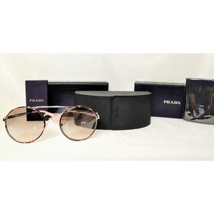 🆕Prada Cinema Sunglasses 54mm Round Dark Havana